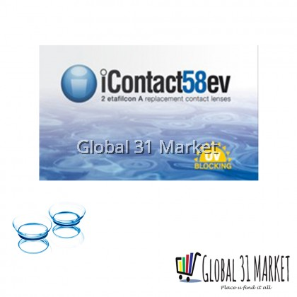 iContact 58ev  Clear Contact Lens ( 2 pieces  & Monthly disposable)