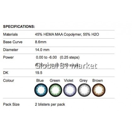 iContact Monthly Color Contact lens , iEnhancer Series , 14mm ,2pieces , 5 Magic Color