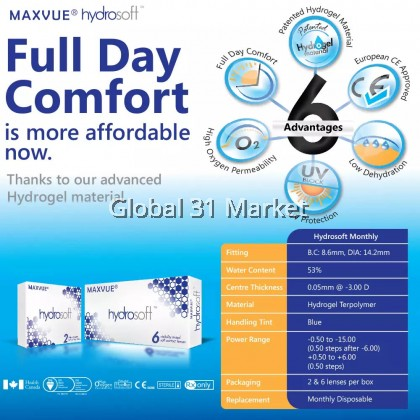 Maxvue Hydrosoft 1 Month clear Contact lens 6pcs/box FREE 1 pair ( 6 +2Pcs)