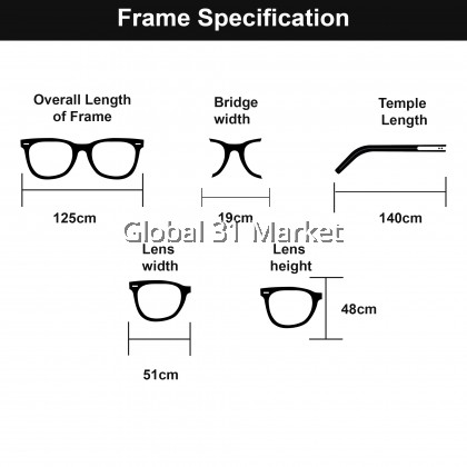 Myopia Eyeglasses Korean rounded Gold Color Frame WIth Power 0.00 to -4.00