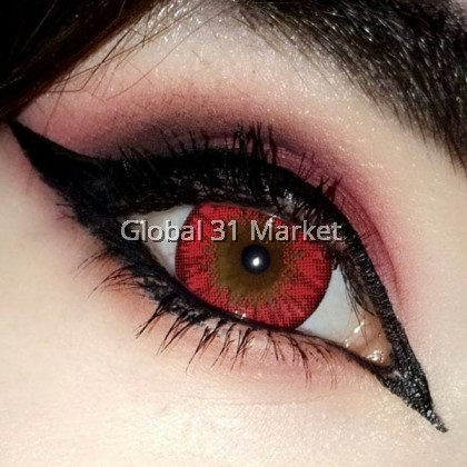 Poppy Red+ Red Circle Lens , For Cosplay , Crazy Color lens 16.2mm , 0.00DS ( Ready Stock) iFairy