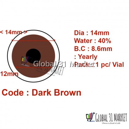 Prosthetic Contact lens Dark brown 14mm 1 Year Disposable 1pc/Vial Ready Stock!